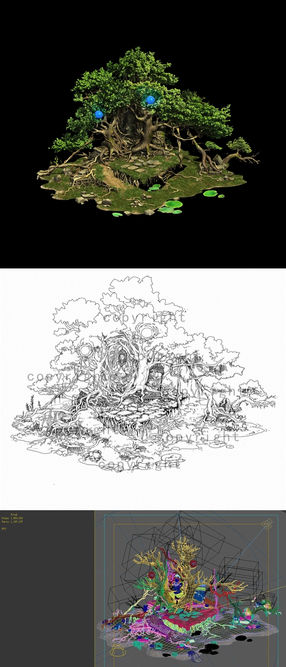 Game Model - Kashayana Buddha Forest Trail Tree - 3DOcean Item for Sale