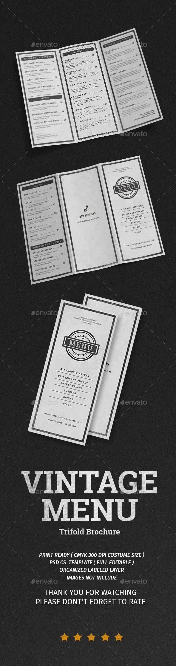 Vintage Menu Trifold Brochure - Restaurant Flyers
