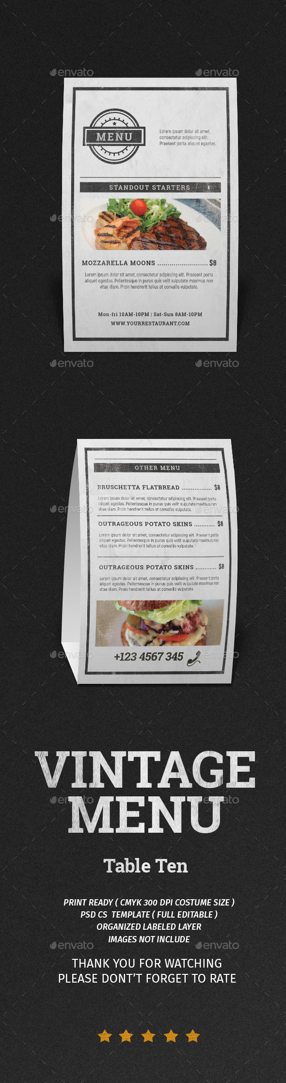 Vintage Menu Table ten - Restaurant Flyers