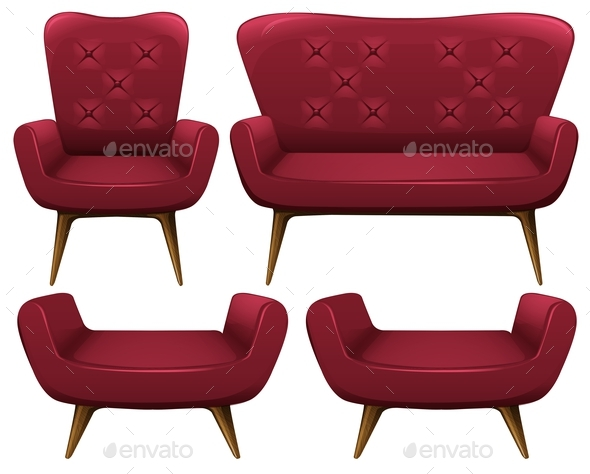 Armchairs and Sofa in Red - Man-made Objects Objects