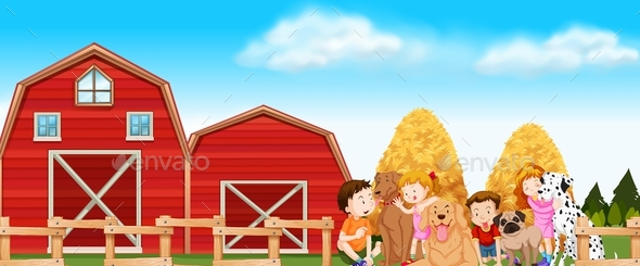 Children and Dogs on the Farm - Landscapes Nature