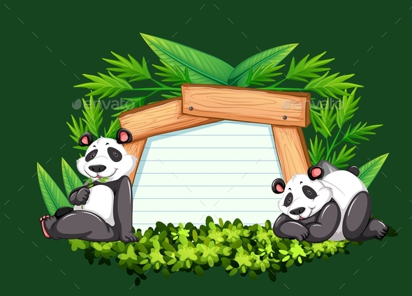Border Template with Two Pandas - Animals Characters
