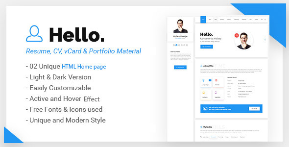 Hello – Resume, CV, vCard & Portfolio Material HTML Template