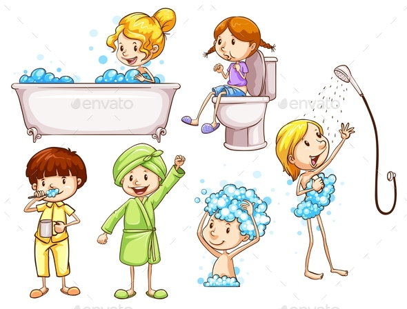 Simple Coloured Sketches of People Taking a Bath - People Characters