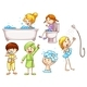 Simple Coloured Sketches of People Taking a Bath