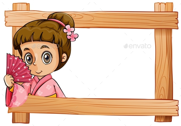 Wooden Frame with a Girl - People Characters