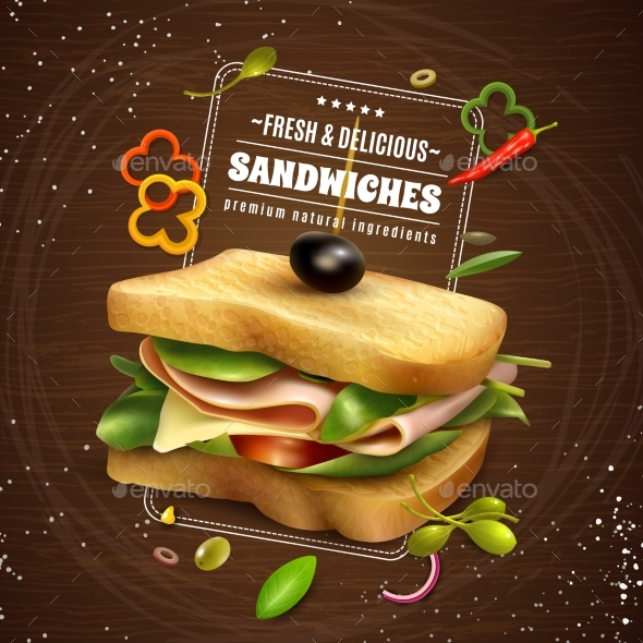 Fresh Sandwich Wooden Background Advertisement - Food Objects