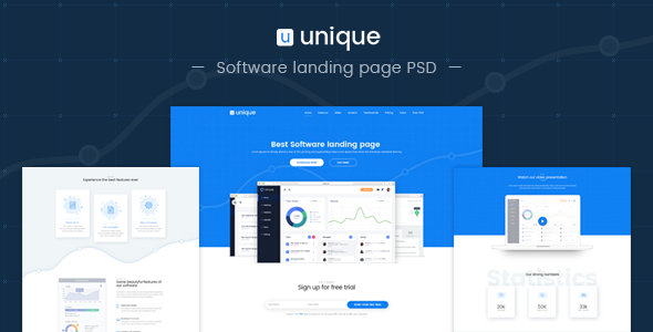 Unique-Software landing page PSD template