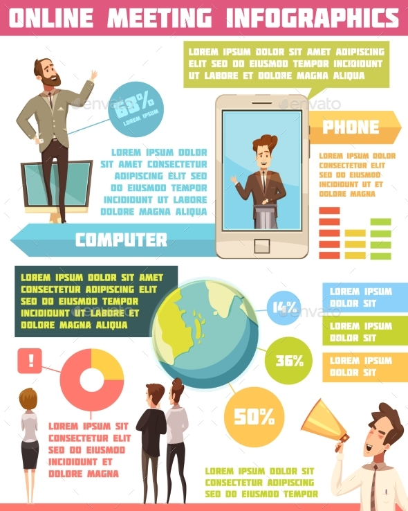 Online Meeting Infographic Set - Backgrounds Business