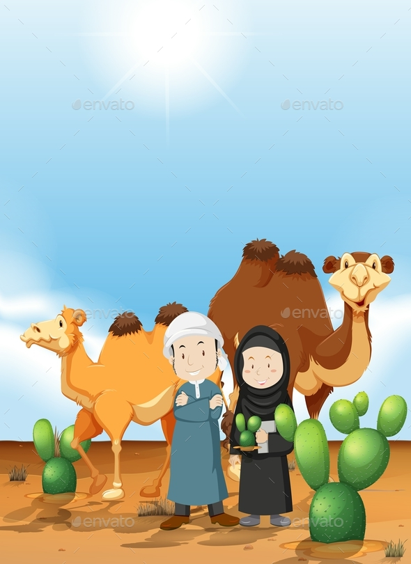 Arab People and Camel on the Desert Ground - People Characters