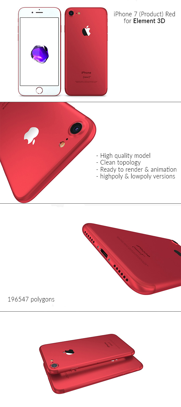 iPhone 7 (Product) Red - Element 3D - 3DOcean Item for Sale