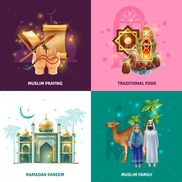 Ramadan Traditions Concept 4 Icons Square - Religion Conceptual