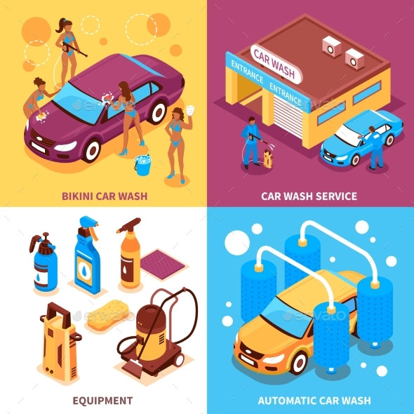 Car Wash Isometric Design Concept - Services Commercial / Shopping