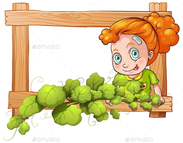 Frame with Vine Plants and a Young Girl - People Characters