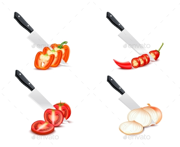 Knife Chopping Vegetable 3D Design Set - Food Objects