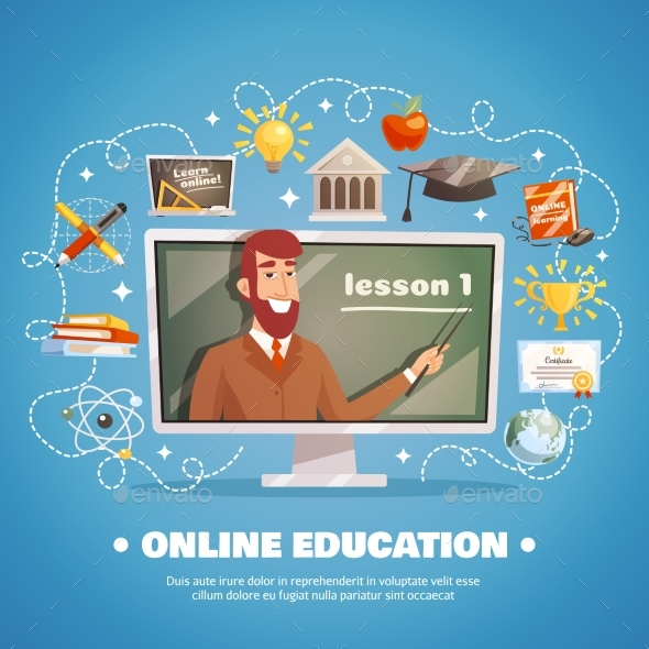 Online Education Design Concept - Miscellaneous Vectors