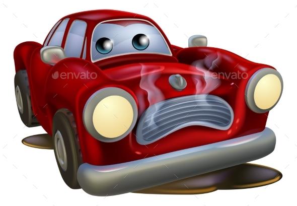 Sad Broken Down Cartoon Car - Miscellaneous Vectors