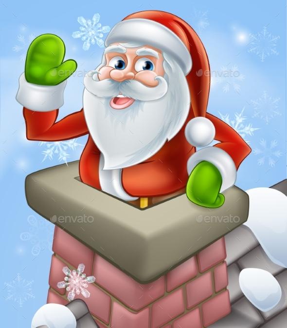 Santa Christmas Chimney Scene - Christmas Seasons/Holidays