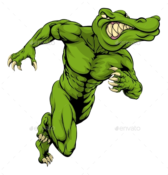Alligator or Crocodile Mascot Running - Animals Characters