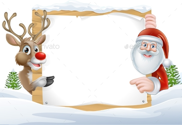 Santa and Reindeer Sign - Christmas Seasons/Holidays