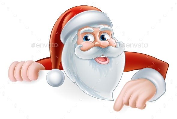 Cartoon Santa Pointing - Christmas Seasons/Holidays