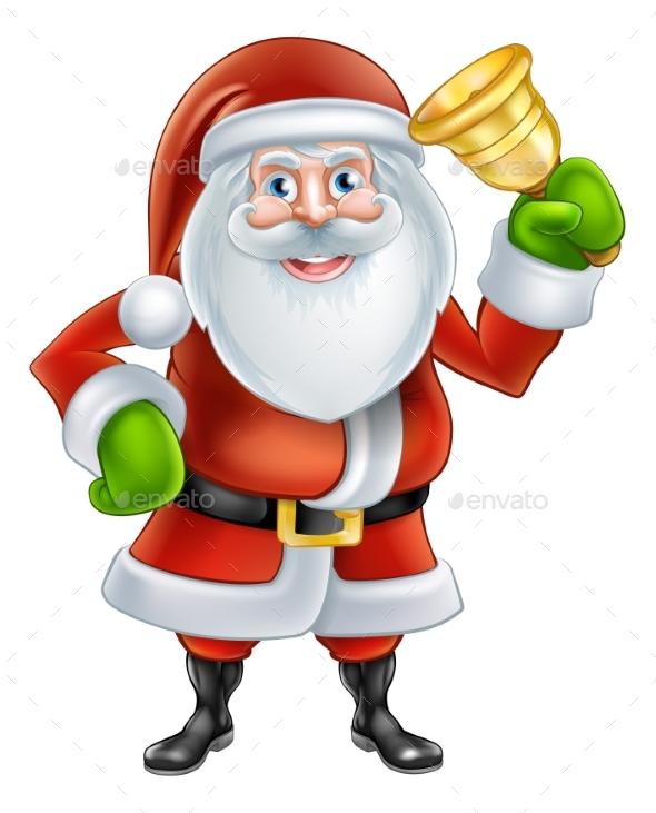 Cartoon Santa Ringing Bell - Christmas Seasons/Holidays