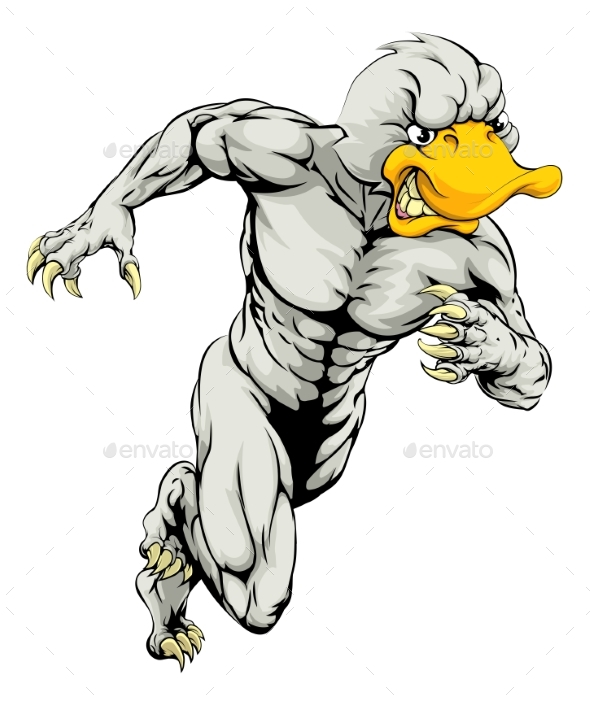 Duck Mascot Running - Animals Characters