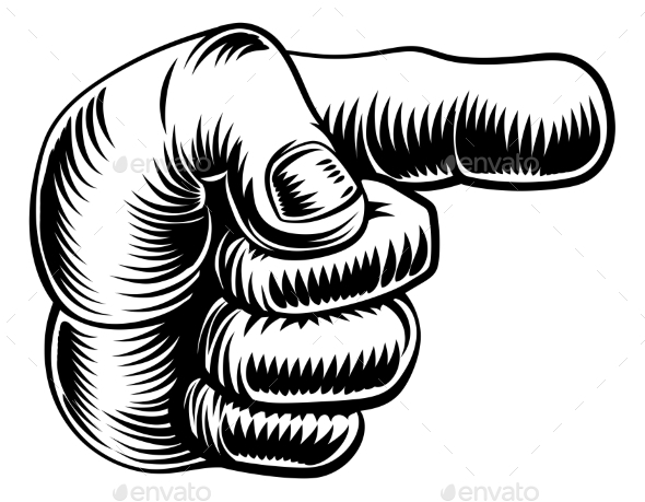 Vintage Hand Pointing Finger - Miscellaneous Vectors