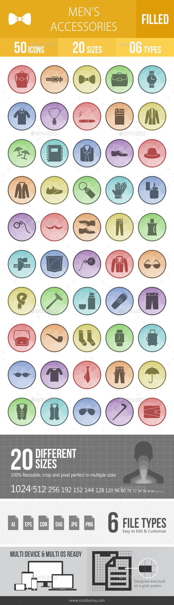 Men's Accessories Filled Low Poly B/G Icons - Icons