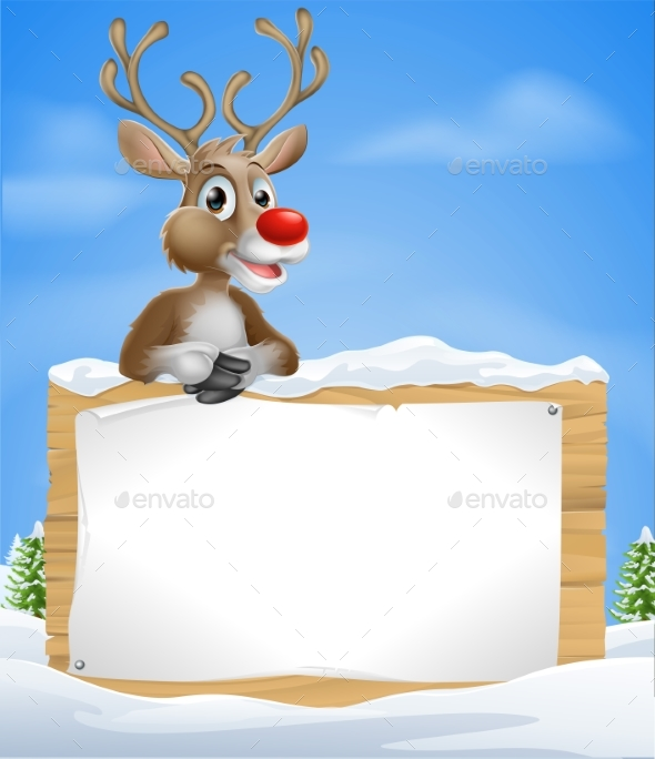 Cartoon Christmas Reindeer Sign - Miscellaneous Vectors