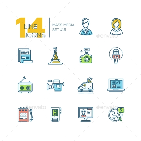 Mass Media - Colored Modern Single Line Icons Set - Miscellaneous Vectors