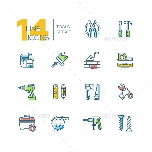 Tools - Colored Modern Single Line Icons Set - Industries Business