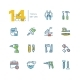 Tools - Colored Modern Single Line Icons Set