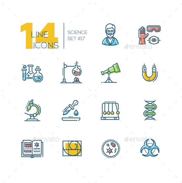 Science - Colored Modern Single Line Icons Set - Technology Conceptual