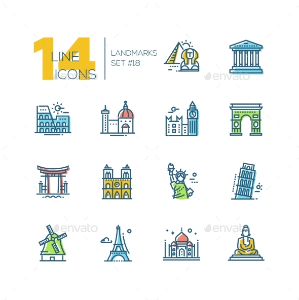 Landmarks - Colored Modern Single Line Icons Set - Buildings Objects