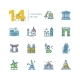 Landmarks - Colored Modern Single Line Icons Set - GraphicRiver Item for Sale