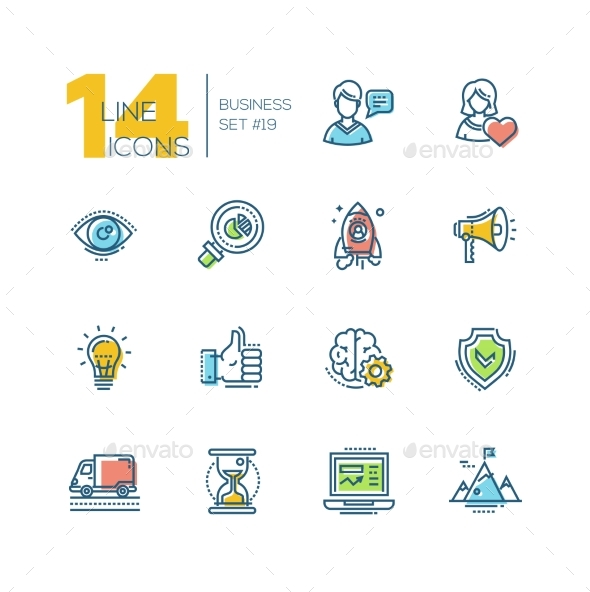 Business - Colored Modern Single Line Icons Set - Miscellaneous Vectors
