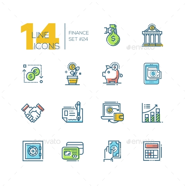 Finance - Colored Modern Single Line Icons Set - Miscellaneous Vectors