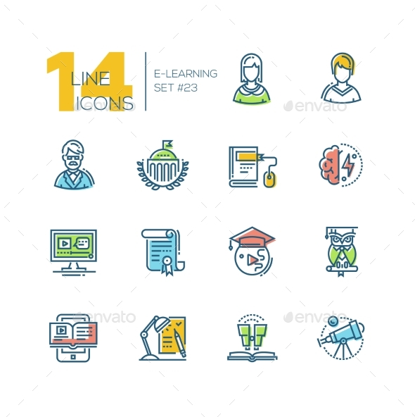 eLearning- Colored Modern Single Line Icons Set - Miscellaneous Vectors