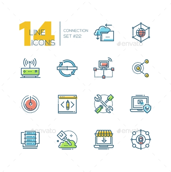Connection - Colored Modern Single Line Icons Set. - Miscellaneous Vectors