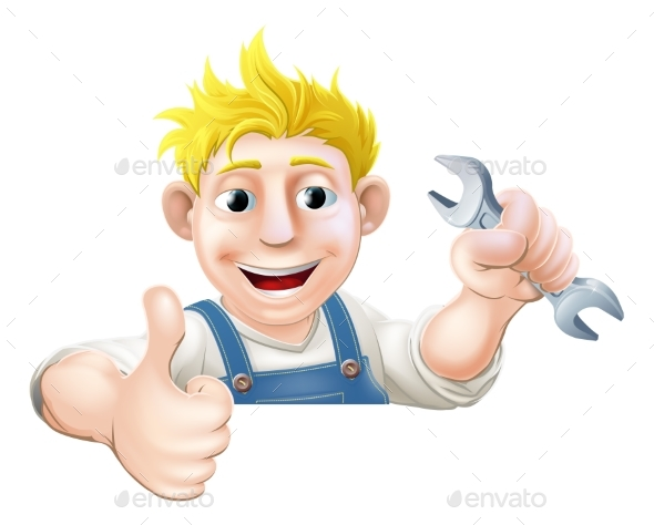 Spanner Man Over Sign Thumbs Up - Miscellaneous Vectors
