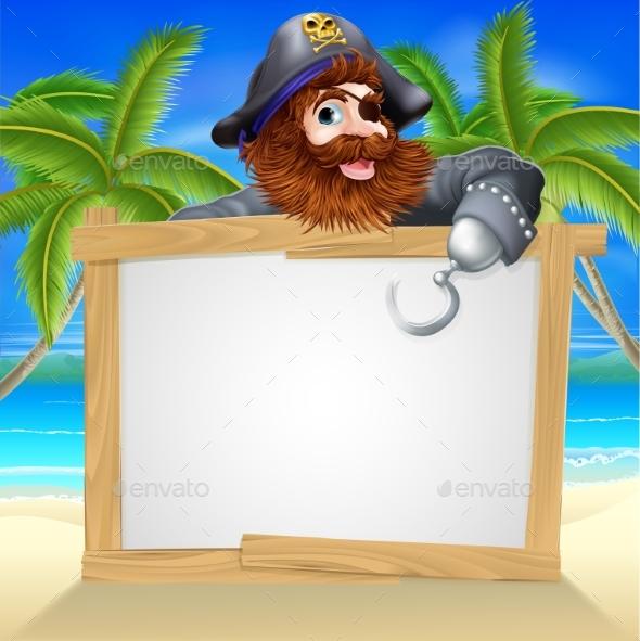 Cartoon Pirate Beach Sign - Miscellaneous Vectors