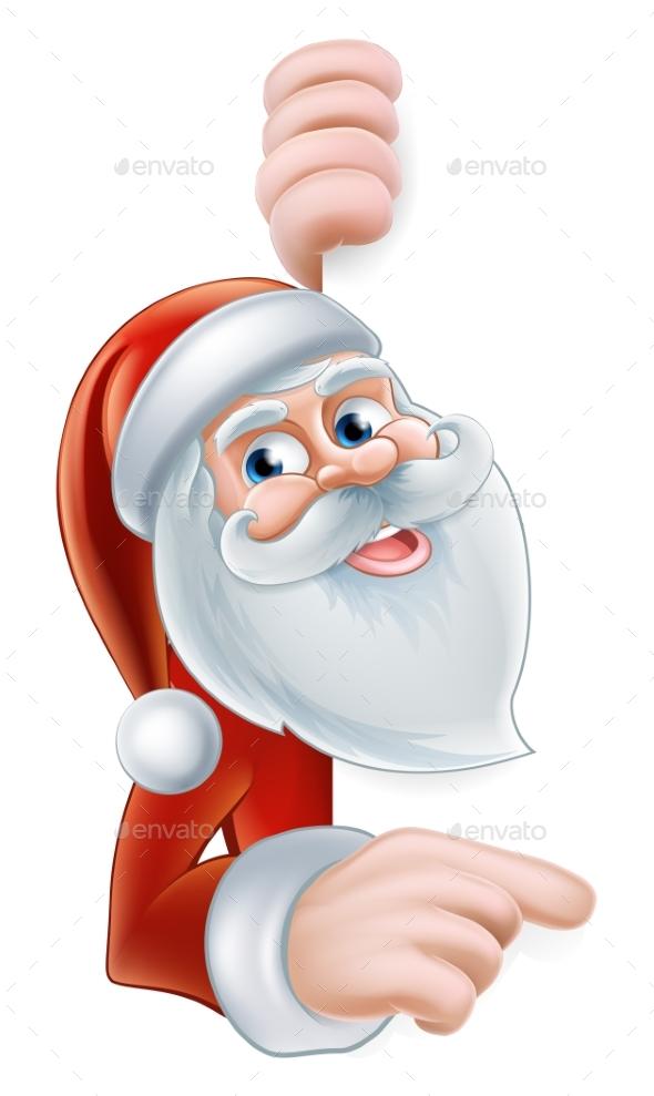 Cartoon Santa Pointing - Seasons/Holidays Conceptual