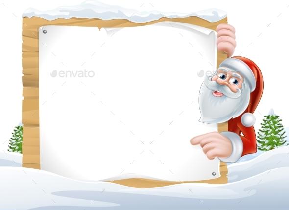 Santa Cartoon Christmas Sign - Miscellaneous Vectors