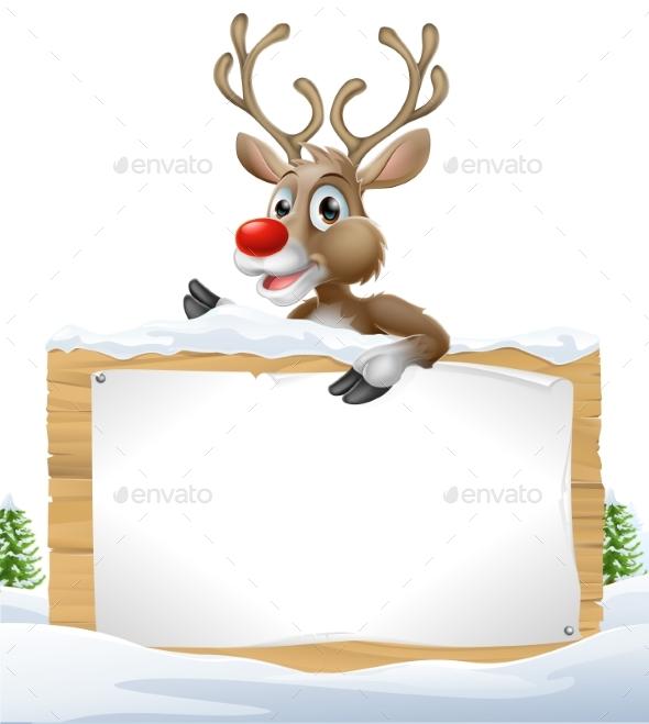 Reindeer Snowy Christmas Sign - Miscellaneous Vectors
