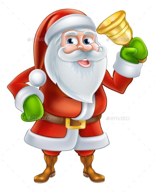 Cartoon Santa Ringing Bell - Seasons/Holidays Conceptual