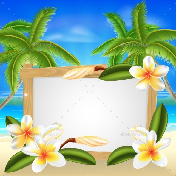 Beach Frangipani Beach Summer Sign - Seasons/Holidays Conceptual