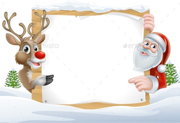 Christmas Santa and Reindeer Sign - Miscellaneous Vectors
