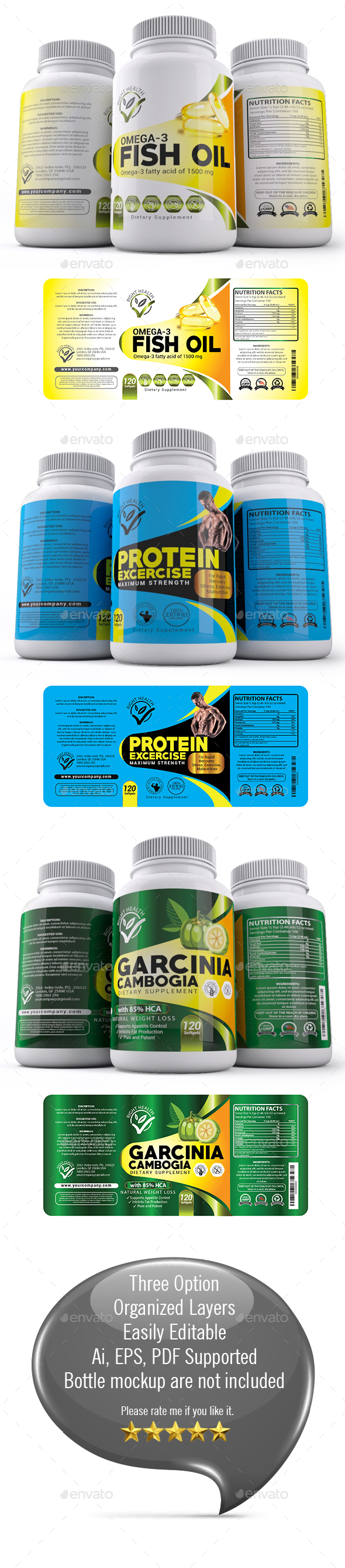 Supplement Label Templates 013 - Packaging Print Templates