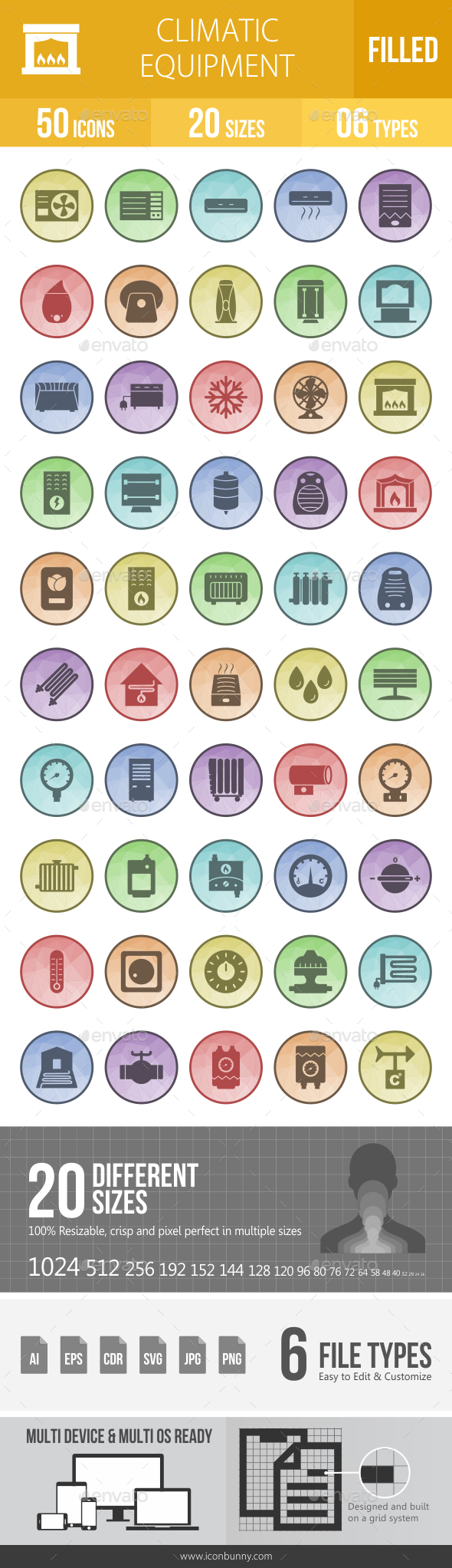 Climatic Equipment Filled Low Poly B/G Icons - Icons